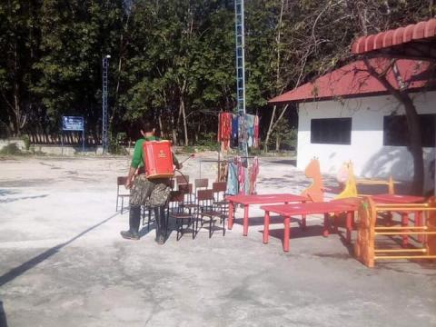 กองสาธารณสุขฯ ร่วมกับกองการศึกษา เทศบาลตำบลแคนดง ทำความสะอาดศูนย